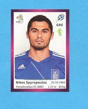 PANINI-EURO 2012-Figurina n.91- SPYROPOULOS - GRECIA -NEW-DARK BOARD