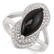 LOVELY BLACK ONYX & CREATED WHITE SAPPHIRE 925 STERLING SILVER RING SIZE 6.5