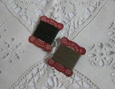 Lot de 2 cartes de fil anciennes de lin/ kaki foncé et clair / vers 1930