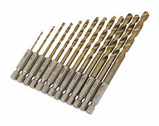 "13PC Hss Metal Drill Bits With Quick Change 1/4"" Hex Titanium Fitting 1.5-6.5mm"