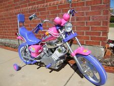 Kids Motorcyle Ride On Pink Purple Bike Battery Power Girls Harley Style Wheels