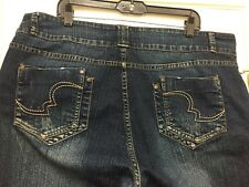 IQ Size 22 Stylish Stretch Fit Dark Washed Faded Blue Jeans