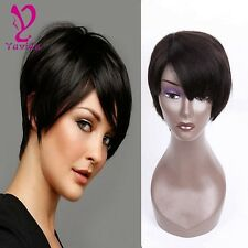 Glueless Short Straight Human Hair Wigs None Full Lace Front Wig+Cap For Woman