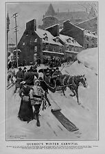 QUEBEC WINTER CARNIVAL FRENCH CANADIAN CITY HORSE SLEIGH BELLS CHATEAU FRONTENAC