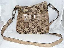 Kathy Van Zeeland Brown Floral Fabric & Croc Embossed Faux Leather Crossbody Bag
