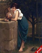 YOUNG WOMAN WATCHING A BOX TURTLE ELIHU VEDDER PAINTING ART REAL CANVAS PRINT