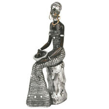 Masai African Lady Sitting  Black & Silver Figurine Ornament  Statue