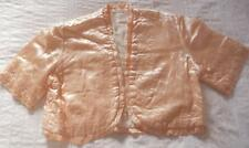 VINTAGE 1930'S 1940'S QUILTED EMBROIDERED PEACH SATIN BEDJACKET EVENING JACKET