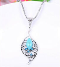 Vintage Jewelry Tibetan Silver Lucky leaves Turquoise Women Pendant Necklace !