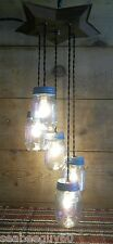 Mason Jar Light Fixture Chandelier METAL STAR 5 Mason Jar Light Rustic Primitive
