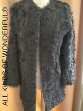 Ravn Curly Lamb Coat in Grey Size 38 ( UK10) RRP£799 Brand New With Tags