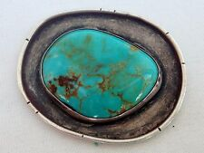 Beautiful Antique Sterling Silver & Turquoise Nugget 'Good Luck' Token Totem