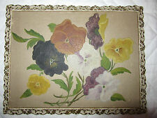 VICTORIAN vintage antique original oil PAINTING pansy flower floral on board