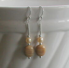 Vintage Caramel Swirl Glass Beads Cream Glass Pearls Sterling Silver Earrings