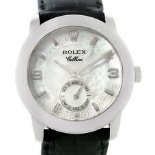 Rolex Cellini Cellinium Platinum Mechanical Black Strap Mens Watch 5240