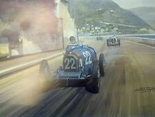 Mini Litho 1931 Monaco Grand Prix (Bugatti Type 51 Chiron) door Michael Turner