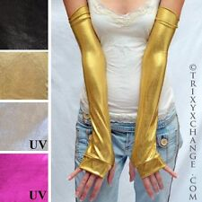 1002 Gold Gloves Long Arm Warmers Wonder Fingerless Covers Shiny Woman Sleeves