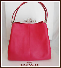 NWT NEW $395 Coach Madison Pebbled Leather Small Phoebe Shoulder Bag PINK RUBY