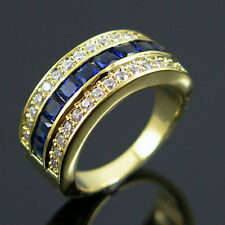 Size  5.5 Ink Blue Sapphire CZ Wedding Ring Man/Womens 10KT yellow Gold Filled