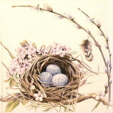 4x Single Table Party Paper Napkins for Decoupage Craft Bird's Nest with Eggs