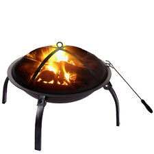 """22"""" Patio Folding Fire Pit Backyard Grill Metal Stove Fireplace Heater w/Cover"""