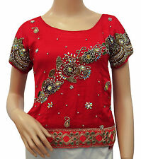 Vintage Style New Indian Women Beaded Blouse Net Fabric Art Red Tunic Choli Top
