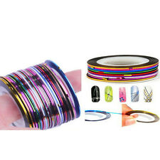 30 Pcs Mixed Colors Rolls Striping Tape Line Nail Art Tips Decoration Sticker F5