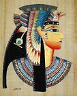 """Egyptian Hand-painted Papyrus Signed Artwork: Bust of Queen Nefertari 13x16.5"""""""