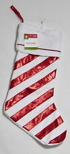 NEW NWT Target Red Glittery & White Candy Cane Style Stocking Christmas Holiday