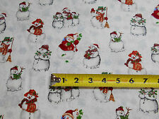 Snowmen Singing Winter Wonderland Christmas BY YARDS Blue Hill Cotton Fabric