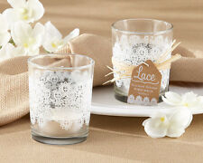 72 White Vintage Lace Glass Tea Light Candle Holder Bridal Wedding Favors