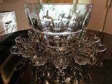 Rare Gorgeous Antique Patterned Glass Punch Bowl
