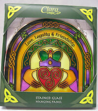 IRELAND CLARA STAINED GLASS CLADDAGH LOVE, LOYALTY & FRIENDSHIP HANGING PANEL