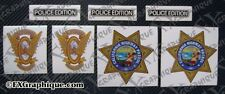CHP CALIFORNIA HIGHWAY PATROL MOTORCYCLE DECALS SET EMBLEM - 3M REFLECTIVE VINYL