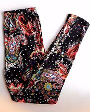 Leggings Paisley 1X 2X Tall and Curvy TC Size 12-18  Buttery Soft Red Black