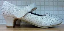 Infiniti Ladies Young Girls Crystal Sparkle Studded Mary Jane Shoes 4/36 Ivory