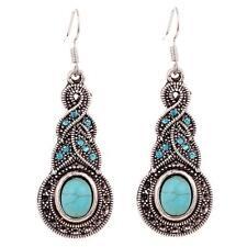 Women Jewelry Retro Tibetan Silver Turquoise Crystal Pendant Earring Dangle Hook