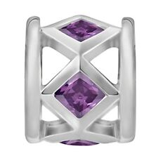 Lovelinks Bead Sterling Silver, 5 Amethyst CZ Bead Fashion Charm Jewelry TT530AM