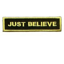 JUST BELIEVE CHRISTIAN EMBROIDERED IRON ON BIKER PATCH