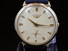 ORIGINAL VINTAGE THIN MEN 1956 LONGINES MANUAL SUB SECOND DIAL WATCH SERVICE 27M