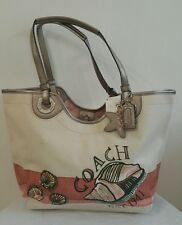COACH BEACH MOTIF STARFISH TOTE CORAL F19273--NEW