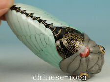 Chinese Old Porcelain Handmade Carved cicada Statue Snuff bottle