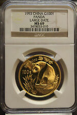 Rare 1993 100Y 1oz Chinese China gold panda large date NGC MS69