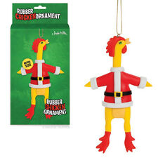 Rubber Chicken With Santa Suit Novelty Christmas Ornament