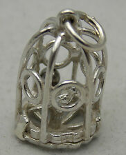 3D STERLING SILVER BIRD CAGE CHARM