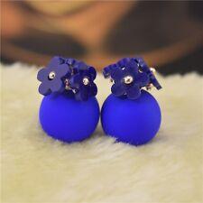 Popular Jewelry Double Women Sided Pearl Daisy Earrings Ear Stud Big Ball Beads