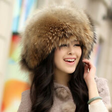 Women Real Raccoon  Fur Hat Large size