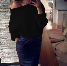 Womens Sexy Off Shoulder Chunky Knitted Loose Baggy Sweater Jumper  Fashion Tops
