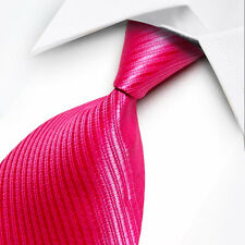 UK0067 New Silk Rose-pink Stripes Classic WOVEN JACQUARD Necktie Men's Tie