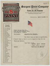 RARE - COLOR Litho Letterhead Sargent Paint Company 1918 Indianapolis Billhead